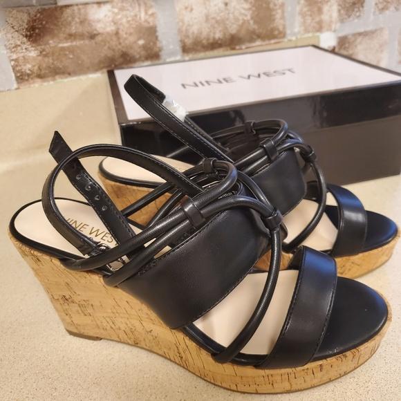 Nine West Shoes - Nine West black  strappy wedges